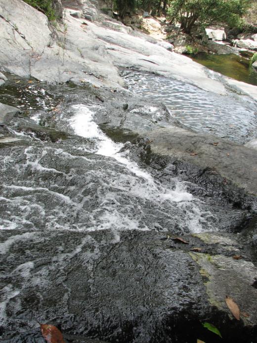 Looking down the waterfalls at the Cedar Creek Falls.