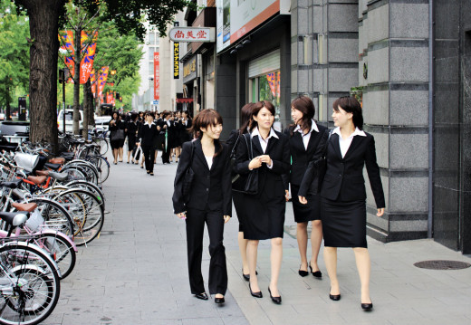 TO GO FOR JOB INTERVIEWS IN GROUPS. WHEN THEY ALL GET TURNED DOWN FOR JOBS, THEY CAN SPEND THE REST OF THE DAY SHOPPING.