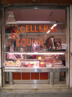 a butcher shop in italy specializing in horse