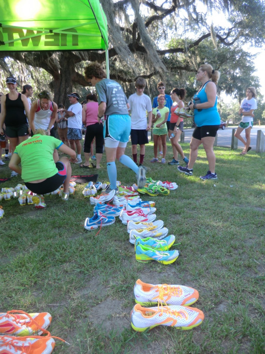 Savannah runners attend a Newton Natural Running Clinic sponsored by Fleet Feet Sports in Daffin Park