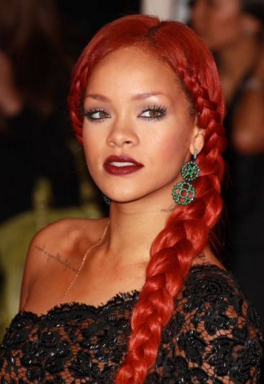 Rihanna with Long Red Braid