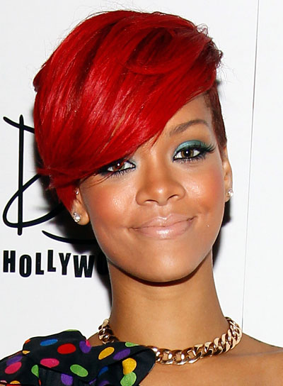 Rihanna with Very Short Hair and Long, Side-swept Bangs
