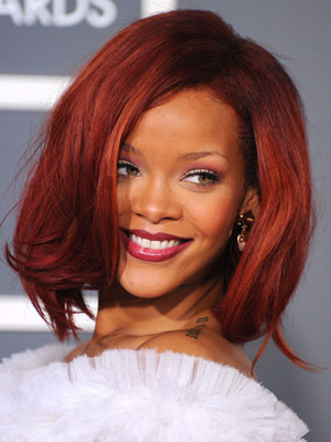 Rihanna with a Long, Auburn Bob