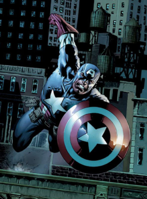 Captain America jumping off a building.