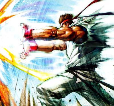Ryu firing a Hadouken.