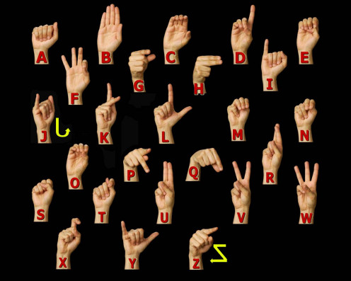 Can you finger spell the alphabet? It's not hard to learn (much easier than learning the entire language) and could make all the difference between you being able to communicate with someone that is deaf or hard-of-hearing!