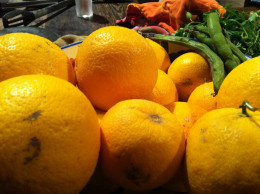 Biologically grown oranges.  great to taste, good for you but not pretty to look at, naturally!