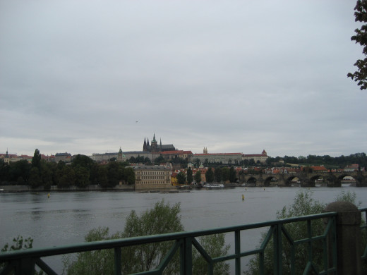 Across the river to Prague Castle.