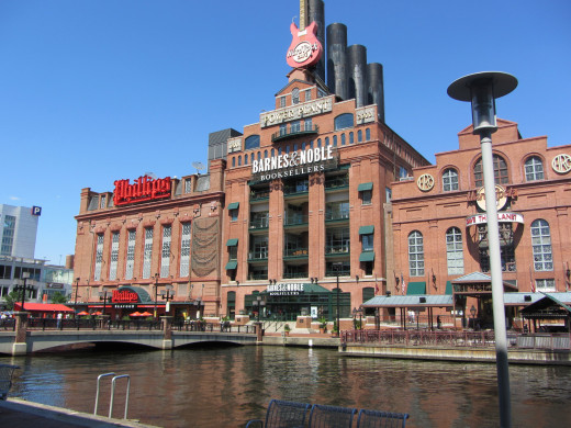 Phillips Seafood, Barnes & Noble, and the Hard Rock Cafe at Inner Harbor, Baltimore
