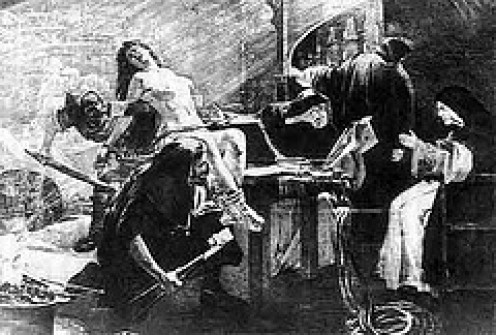 Strapping the victim down for torture.  Females were usually stripped in the courtroom before being taken.