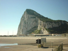 "The Gibraltar airport and ""The Rock."""