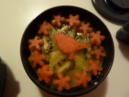 Watermelon and Kiwi fruit Bento snack, Japan Style serving, ideal for morning and afternoon tea.