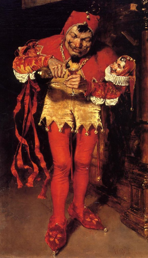 A Jester prepares to go on stage