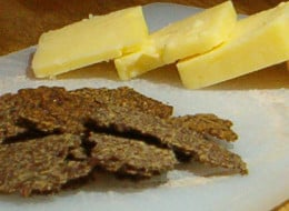 Flaxseed crackers and cheddar cheese