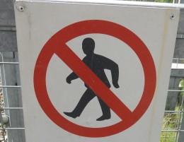 Warning sign: do not walk, by Gene Hunt