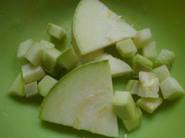 Chop the pipian fine into little squares.