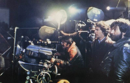 Steven Spielberg and Tobe Hooper on the set of Poltergeist
