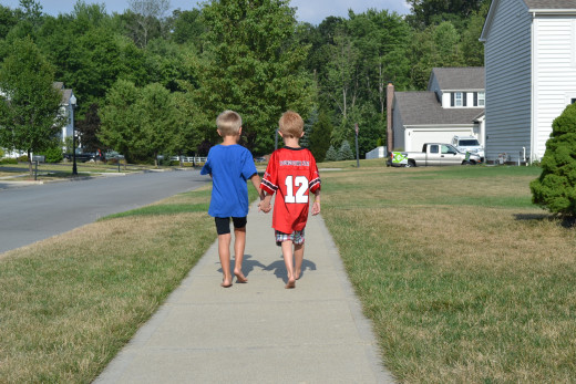If the kids don't get along, they walk around the block holding hands