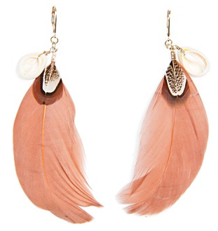 Long Feather and Shell Earrings