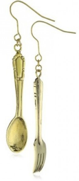Monserat De Lucca Brass Fork And Spoon Earrings