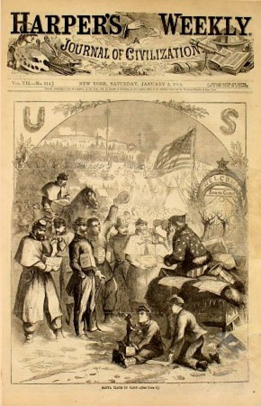 This 1863 Harpers Weekly, illustrated by Thomas Nast, immortalized Santa for all time.