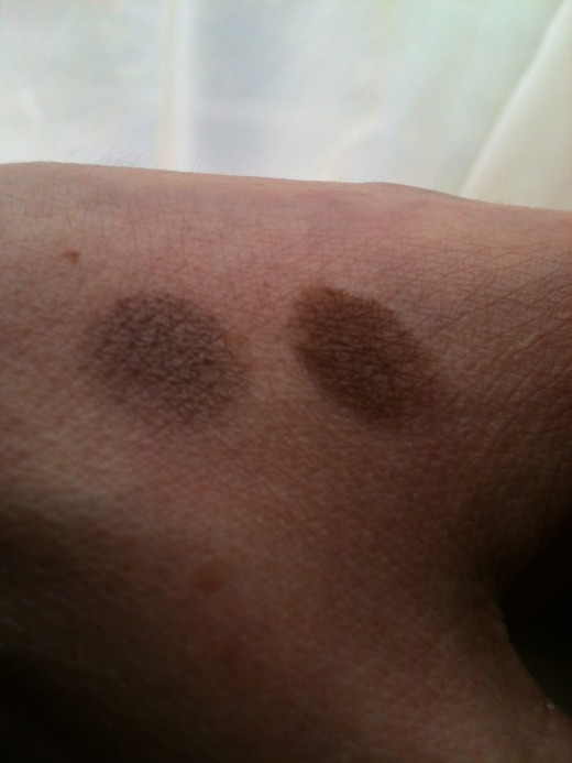 The two eyeshadows when first applied: Clinique is on the left, Rimmel on the right. Photo © Redberry Sky.