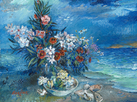 Painting by David Burliuk called Flower by the Sea