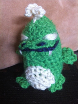 My first official amigurumi character, Kaiju.