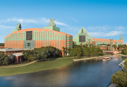 An aerial view of the hotels and waterway.