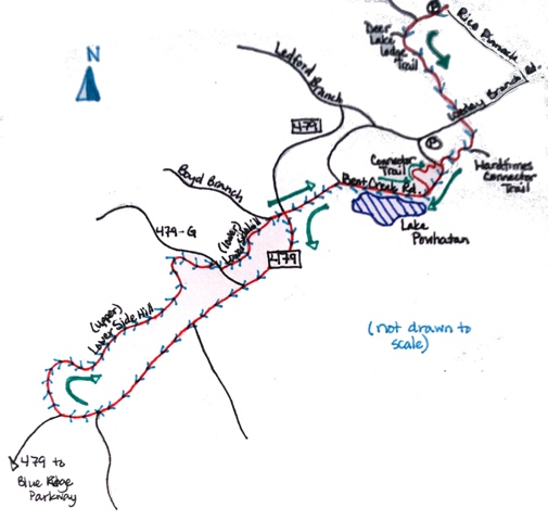 Here's my hand-drawn map of the trail ride.