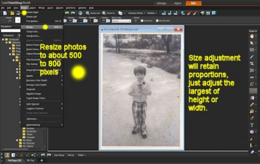 Adjust the size of a photo before you work with it to save time and computing speed. Also photos only need to be about 600 pixels wide or tall for web display.