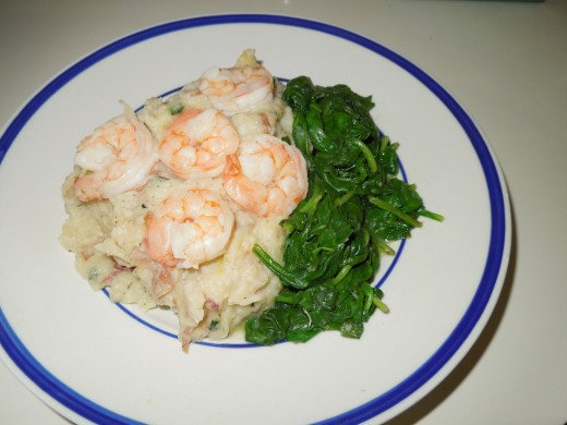 Mashed Potato with Shrimps and Spinach