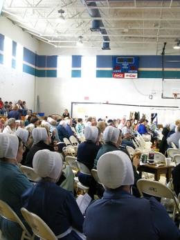 Amish Ladies at Quilt Auction