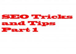 Search Engine Optimization Tricks and Tips Part 1