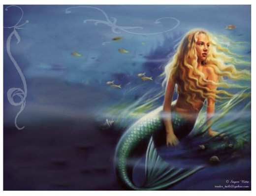 Mermaids, the female gender of merfolk, appear as half-human and half-fish hybrids.