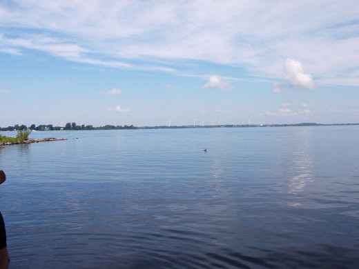 The Saint Lawrence Seaway looking out to Wolfe Island, Ontario, Canada