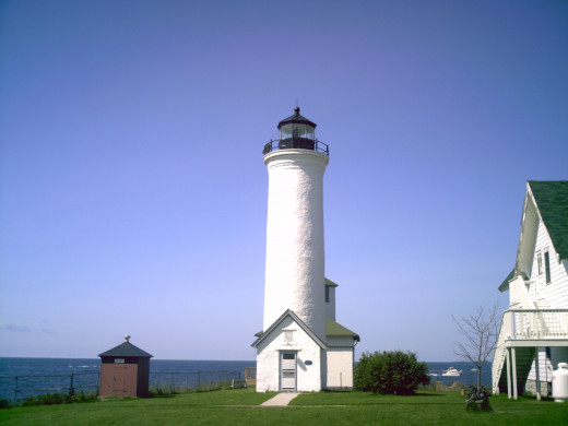 Tibbetts Point lighthouse where Lake Ontario meets the Saint Lawrence River