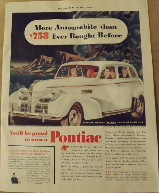 1939 General Motors Pontiac  Vintage Print Ad
