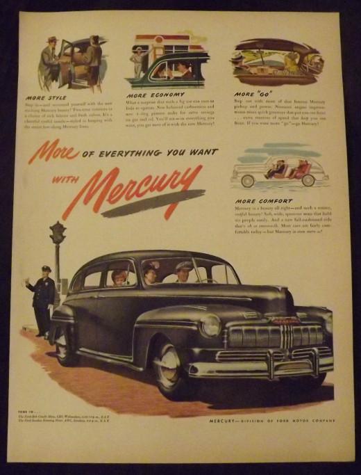 1946 Mercury Vintage Print Ad