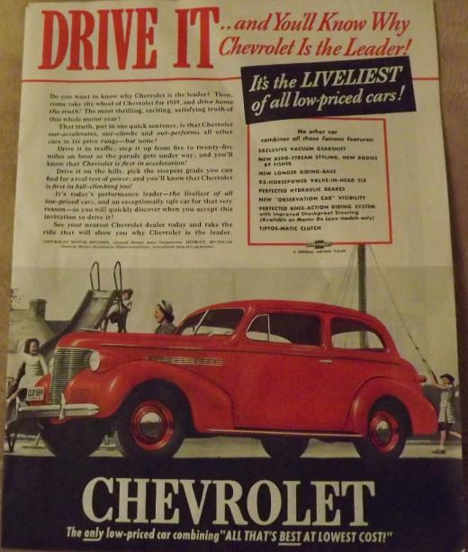1939 Chevrolet Vintage Print Ad