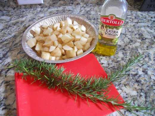 Rosemary, potatoes olive oil and salt