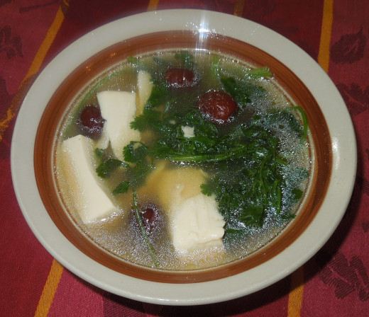 Tilapia Soup with Red Dates, Tofu and Cilantro