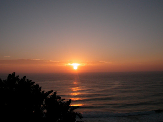 Umhlanga, South Africa. Sun rise over the ocean.