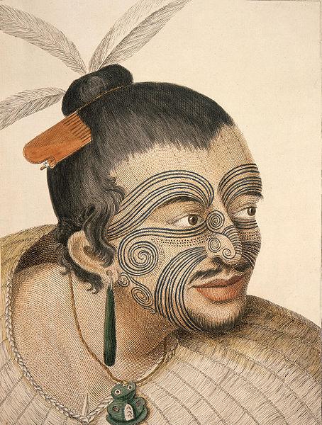 This Maori chief's tattoo's originate from the elaborate designs that adorned Polynesian Lapita pottery.