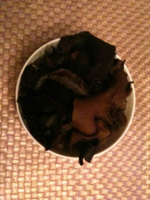 dried Auricularia mushrooms after being soaked in water