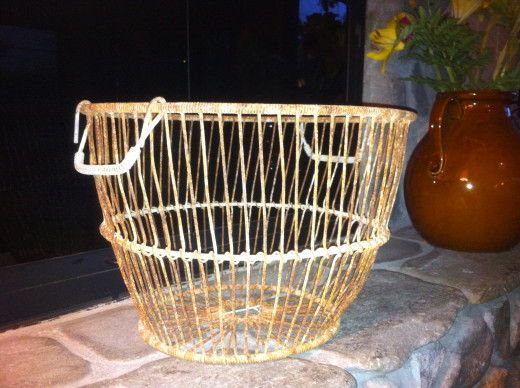 Something new:  my oyster shell wire basket.