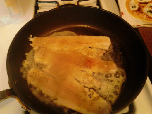 Frying my fish for the fish tacos. The fish was tasty!