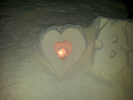 Boracay heart shaped sand at night.
