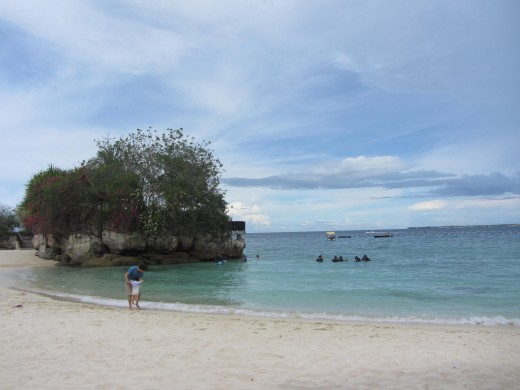 The beach at Shangri-La Mactan. Snorkel just a bit and one would already encounter different types of fish.