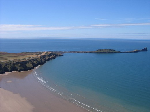 View of Worm's Head from the hill at Rhossili bay